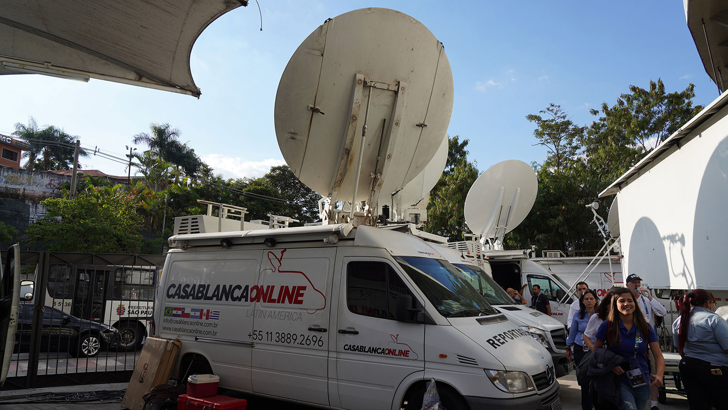 Casablanca Online SNG vans outside Morumbi stadium in Sao Paulo, Brazil