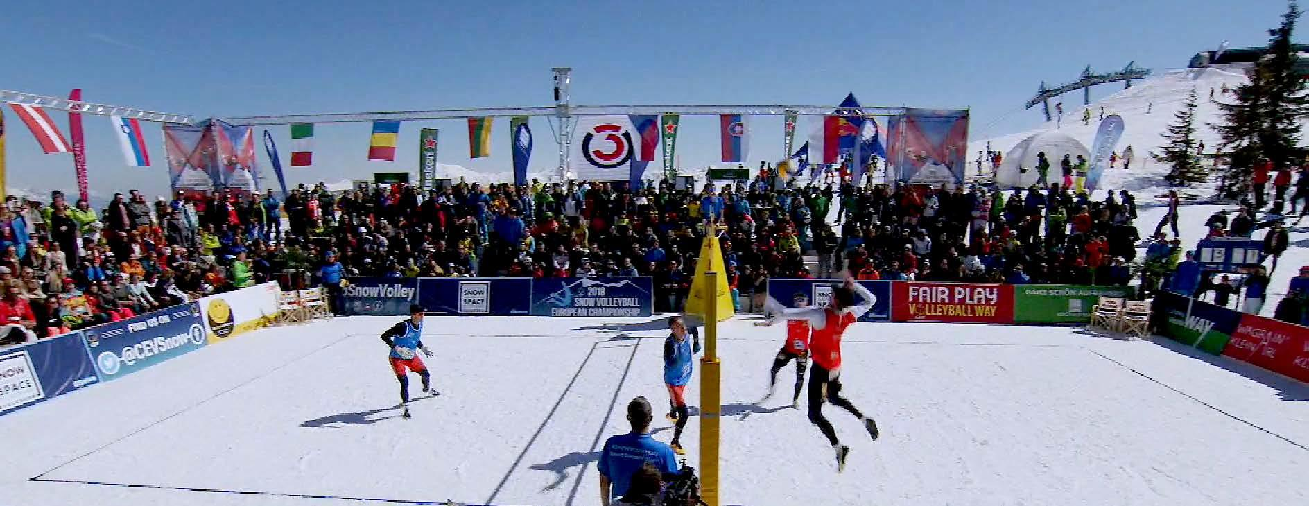 OU Flex set up for the Snow Volleyball tournament in the Austrian Alps